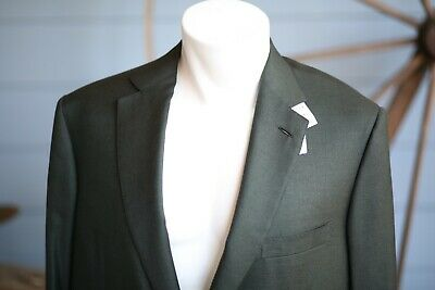 NWT $5,750 Brioni Colosse Mens 40R Dark Green Blazer Wool/Silk Blend Sport Coat