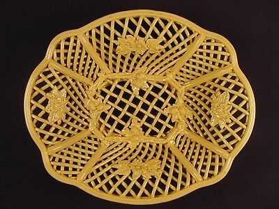 EXTREMELY RARE 1800s LARGE 10 INCH ORNATE WOVEN SERVING PLATE DISH YELLOW WARE