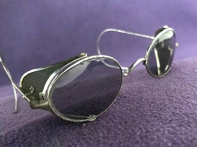 Vintage (1950s?) Tinted Safety Spectacles Glasses Metal Mesh Sides