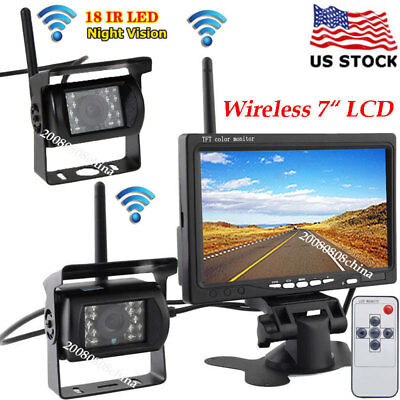 """2x Wireless IR Night Vision Backup Rear View Camera+7"""" LCD Monitor for RV Truck"""