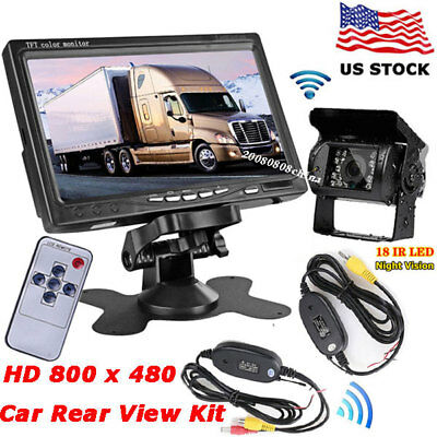 "Wireless IR Rear View Backup Camera + 7"" Color LCD Monitor for RV Truck Trailer"