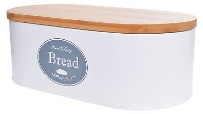 Large Bread Box Metal With Wooden Cutting Bamboo Board Lid Chopping White