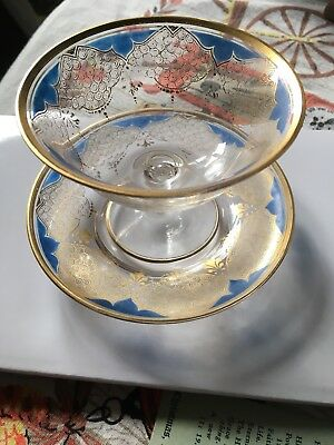 Antique Fruit Cup & Saucer Delicate Gold Rimmed Glass Check Pics So Beautiful