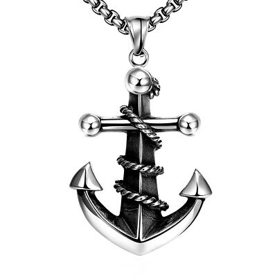 Vintage Silver Men Necklace Anchor Cross Pendant Pirate Short Chain Women Black
