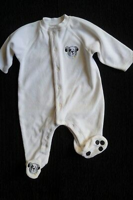 Baby clothes BOY GIRL 3-6m white, soft velour dog sleepsuit/babygrow SEE SHOP!