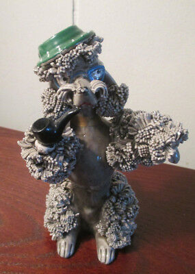 Vintage Gray Grey Spaghetti Poodle Figurine with green hat and pipe