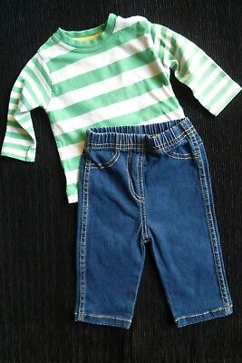 Baby clothes BOY GIRL 3-6m outfit green/cream stripe top/jeans-trousers SEE SHOP