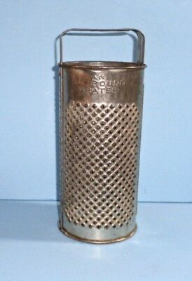 """Primitive Old """"all-Round"""" Perforated Metal Cylinder Grater 3 Surfaces Strap Hdl"""