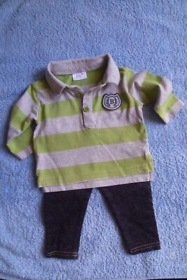 Baby clothes BOY 3-6m outfit dark grey trousers/long sl. green stripe polo top