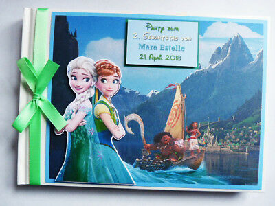 Personalised Disney Frozen And Moana Birthday Guest Book - Any Design