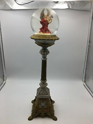 Angel Snow Globe Mounted On Decorative Stand