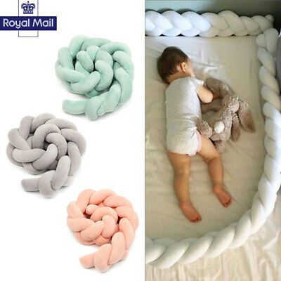 Baby Infant CVC Crib Bumper Bed Bedding Cot Braid Pillow Pad Protector 2/3M