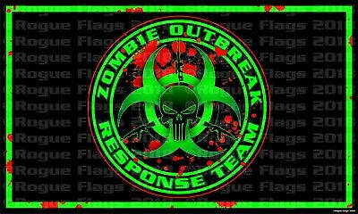 Zombie Outbreak Response Team Fabric Poster Banner Flag 3' X 5' Punisher AK 7.62