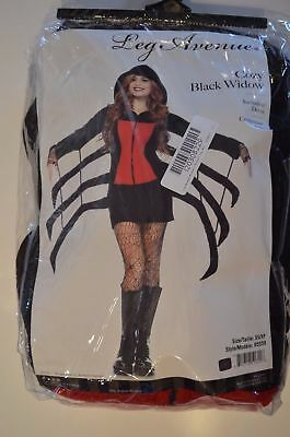 Cozy Black Widow Spider Halloween Costume - Leg Avenue 85558 Size LARGE *NEW*