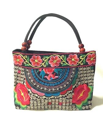 Mexican Handbag Embroidered Floral Rose Handmade Zipper Tote Purse Gift for Her