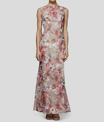 7e1266b451fe6 $379 S.l. Fashions Womens Pink Floral Embroidered Mesh Belted Gown Dress  Size 12