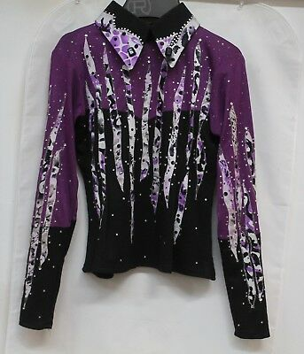 Western Show Shirt Girls Purple and Black with Clear Crystals, Size Small