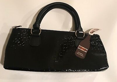 Primeware Insulated Wine Bottle Lunch Clutch Bag Tote Purse Black Faux Crocodile