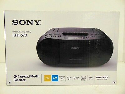 Sony CFD-S70 Portable CD/Cassette Boombox Mega Bass CD-R/RW and MP3 CFDS70BLK