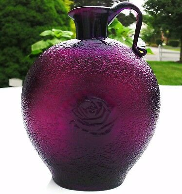Clevenger Brothers Amethyst Purple Jug / Bottle Embossed Rose South Jersey Glass