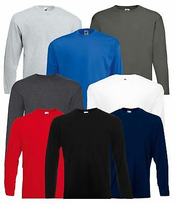 Men's Fruit of the Loom Long Sleeve T Shirt Plain Tee Shirt Top Cotton S-5XL