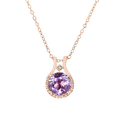 14K Rose Gold over Sterling Silver Diamond and Amethyst Halo Pendant Necklace