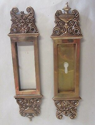 Fancy Set Antique Victorian Polished Brass/bronze  Pocket Door Pulls # 12