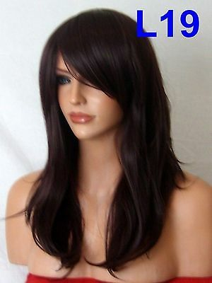 Sleek Black Plum Ladies real Natural Costume Full fringe Womans Fashion Wig L19