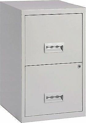 2 Drawer A4 Metal Steel Lockable Filing Draw Cabinet - Grey