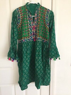 pakistani indian embroidery kurta/kurti Green
