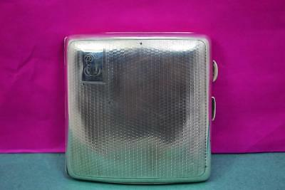 sterling silver cigarette case Art Deco curved design hallmarked J.H.W 1927