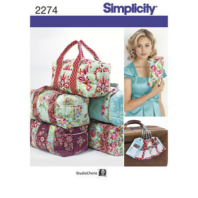 Simplicity Sewing Pattern 2274 Overnight Bag Clutch Carry Bag and Luggage Tag.