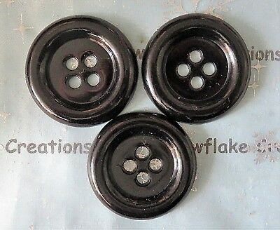 BEUTRON Pack of 3 Large Black Buttons - 4 hole - 48 mm / 4.8 cm BU039