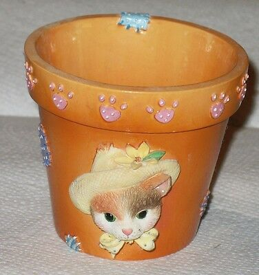 Calico Kittens Flower Pot  Mint