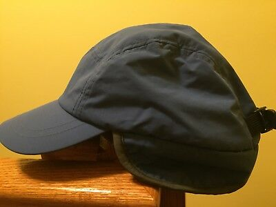 910cb61cc2705 Lands End Youth Aviator Trapper Cap Winter Hat Blue Size M L With Ear Flaps