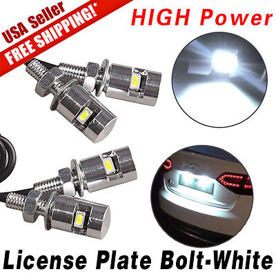 4X White Motorcycle Screw Bolt Lamp Car Universal License Plate Light SMD LED