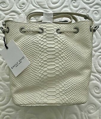 76ec01befe NWT EMILY CHO Alix Bucket/Crossbody/Shoulder Bag, Embossed Winter White  Leather