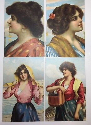 VINTAGE POSTCARDS lot of 4 ARTISTIC LADIES, foreign ? STENGEL & CO unposted