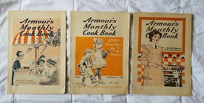 3 Armour's Monthly Cook Book 1913 Magazines Aug Sept Oct Vol.II Edition Antique