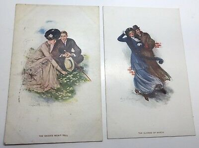 VINTAGE POSTCARDS lot of 2 by ARTIST Clarence UNDERWOOD Victorian couples # 782