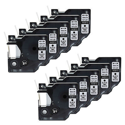 10PK 1/4'' Black on White Label Tape for Dymo D1 43613 LabelManager Wireless PnP
