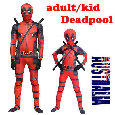 Adult/Kids Halloween Deadpool Cosplay Costume Lycra Zentai Bodysuit Jumpsuit set