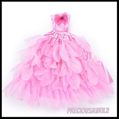 Brand new Barbie doll clothes outfit princess wedding party gown dress pink