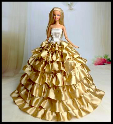 New Barbie doll clothes outfit princess wedding dress gown clothing gold frilled