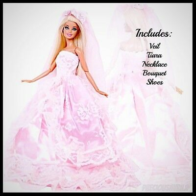 New Barbie doll clothes outfit princess wedding dress gown pink wedding dress.