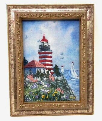 Vintage EXQUISITE Lighthouse HAND EMBROIDERED Needlepoint Framed