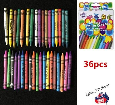 Premium Crayon Pack With Free Sharper 36Pk  Colourful Wax Kids Pencil Painting
