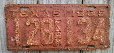 """1939 Texas """"farm"""" License Plate 134 (Rough Used Condition)"""