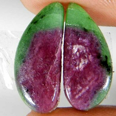 17.25Ct Natural Pink Green Ruby Zoisite Earring Pair Fancy Cabochon Top Gemstone