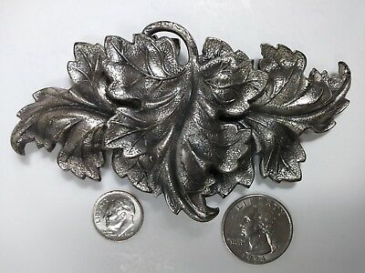 Antique VICTORIAN HEAVY 3D LEAF EMBOSSED 2 PIECE SILVER LADY'S BELT BUCKLE